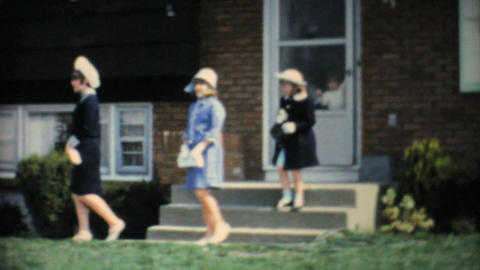 Three Sisters In Stylish Easter Dresses 1966 Vintage 8mm film Footage