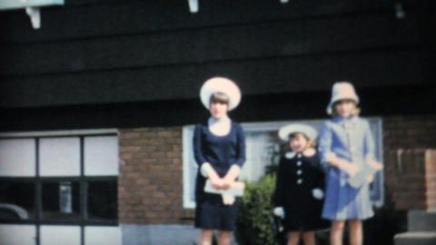 Three Sisters In Stylish Easter Dresses 1966 Vintage 8mm... Stock Video Footage
