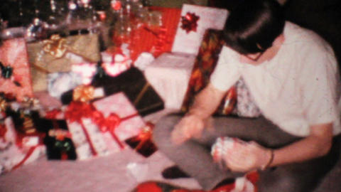 Young Man Gets Socks For Christmas 1967 Vintage 8mm film Footage
