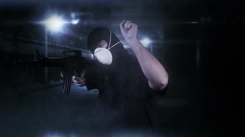Masked Commando Man with Gun in Scary Alley 2 Footage