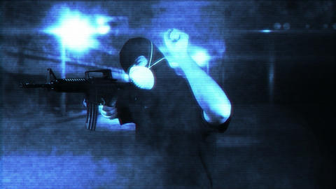 Masked Commando Man with Gun in Scary Alley 3 1 Stock Video Footage