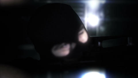 Masked Commando Man with Gun in Scary Alley 7 Stock Video Footage