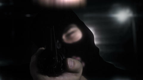 Masked Commando Man with Gun in Scary Alley 9 Stock Video Footage