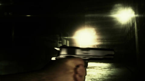 Masked Commando Man with Gun in Scary Alley 13 Stock Video Footage