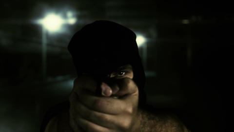 Masked Commando Man with Gun in Scary Alley 15 Stock Video Footage