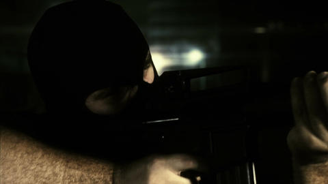 Masked Commando Man with Gun in Scary Alley 19 Stock Video Footage