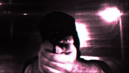 Masked Commando Man with Gun in Scary Alley Matrix 1 Stock Video Footage