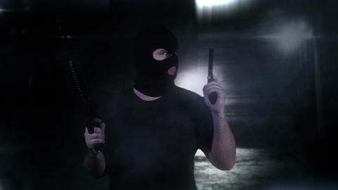 Masked Guard Man with Double Guns in Scary Alley 12 Stock Video Footage
