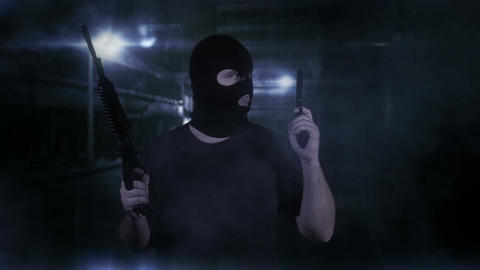 Masked Guard Man with Double Guns in Scary Alley 14 Stock Video Footage