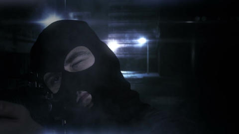 Masked Guard Man with Gun in Scary Alley 2 1 Stock Video Footage