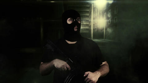 Masked Guard Man with Gun in Scary Alley 3 Stock Video Footage