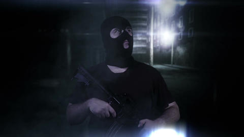 Masked Guard Man with Gun in Scary Alley 4 Stock Video Footage