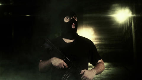 Masked Guard Man with Gun in Scary Alley 5 Footage
