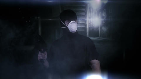 Masked Guard Man with Gun in Scary Alley 10 Footage