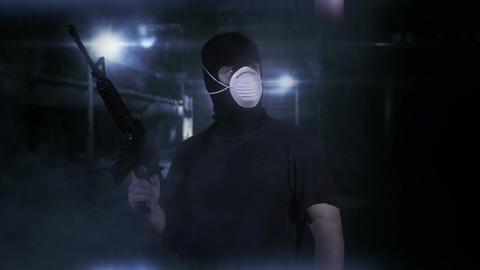 Masked Guard Man with Gun in Scary Alley 14 Stock Video Footage