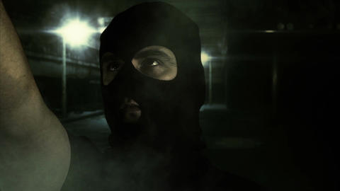 Masked Man with Gun in Scary Alley 1 Footage