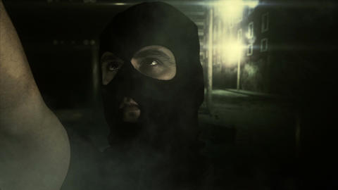 Masked Man with Gun in Scary Alley 3 Footage