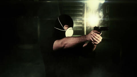 Masked Man with Gun Shooting in Scary Alley 3 Footage