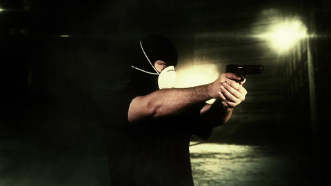 Masked Man with Gun Shooting in Scary Alley 5 Footage