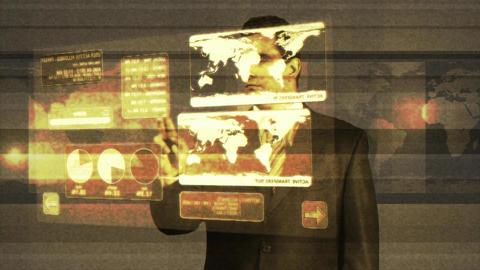 Young Businessman Virtual Online Banking Matrix 3 Footage