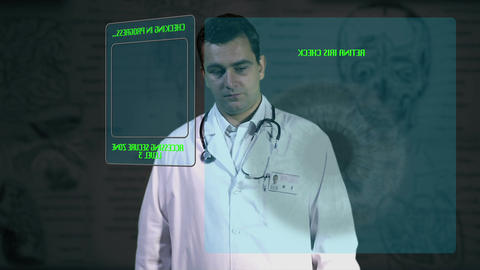 Young Doctor Accesing Futuristic Database 1 Footage