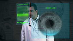 Young Doctor Accesing Futuristic Database 1 Stock Video Footage