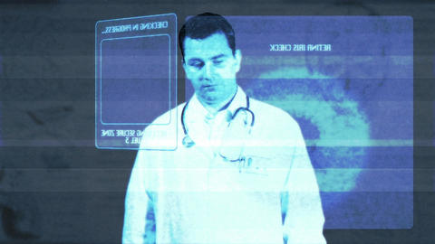 Young Doctor Accesing Futuristic Database Matrix 1 Footage