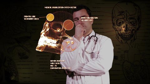 Young Doctor Touchscreen Medical Brain Examination 1 Stock Video Footage