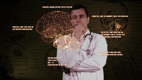 Young Doctor Touchscreen Medical Brain Examination 1 Footage