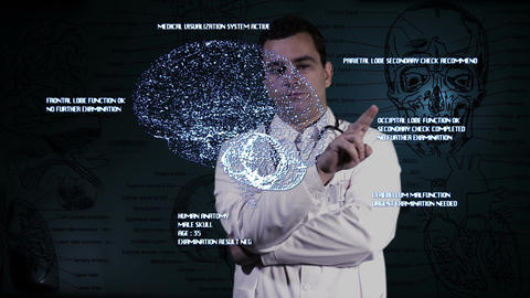 Young Doctor Touchscreen Medical Brain Examination 3 Stock Video Footage