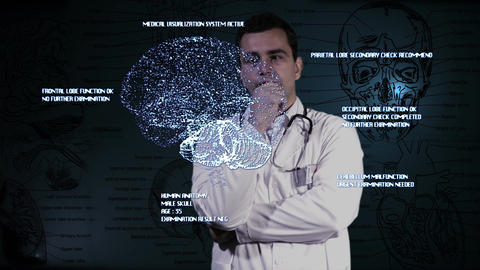Young Doctor Touchscreen Medical Brain Examination 3 Footage
