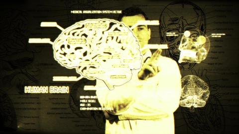 Young Doctor Touchscreen Medical Brain Examination Matrix 2 Stock Video Footage