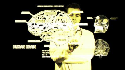 Young Doctor Touchscreen Medical Brain Examination Matrix 2 Stock Video Footage