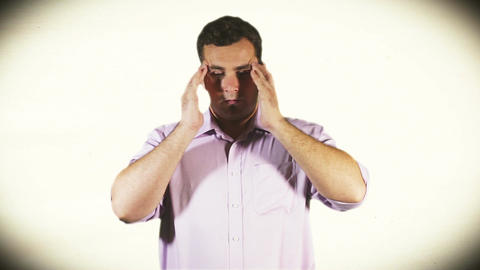 Young Man Headache Skull BG 1 Stock Video Footage