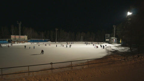 Ice Skating Rink at Night 01 Stock Video Footage