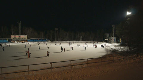 Ice Skating Rink at Night 01 Footage