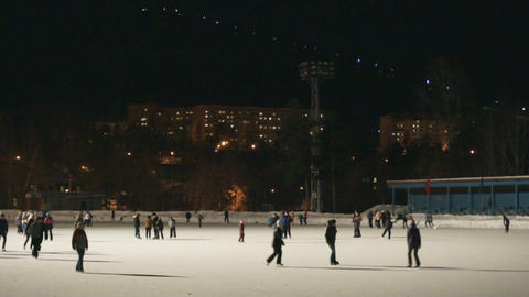Ice Skating Rink at Night 03 Stock Video Footage