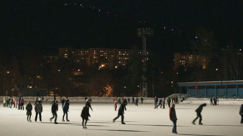 Ice Skating Rink at Night 03 Footage