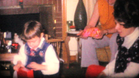 Family Opening Christmas Presents 1968 Vintage 8mm film Stock Video Footage