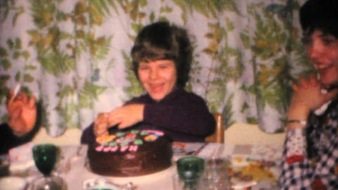 Seven Year Old Girl Celebrates Birthday 1968 Vintage 8mm... Stock Video Footage
