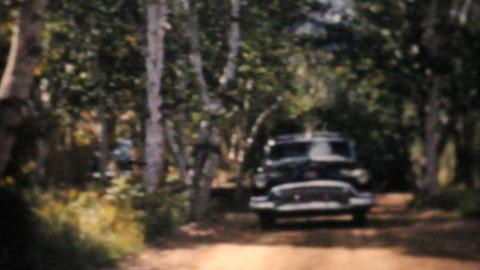 Cadillac 1956 Driving On Country Road Vintage 8mm film Footage