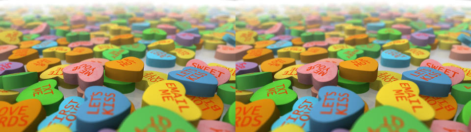 Valentine's Day Conversation Hearts - Stereoscopic 3D stock footage