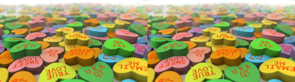 Valentine's Day Conversation Hearts - Stereoscopic 3D Stock Video Footage