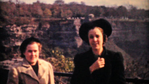 Ladies Enjoying Niagara Falls 1958 Vintage 8mm film Stock Video Footage