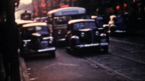 Old Cars On The Streets Of Toronto 1958 Vintage 8mm film Stock Video Footage