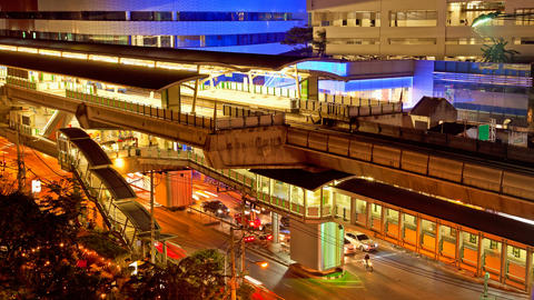 Timelapse - Ekkamai BTS station in Bangkok Stock Video Footage