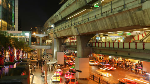 Timelapse - Aerial subway station - Siam BTS Station -... Stock Video Footage