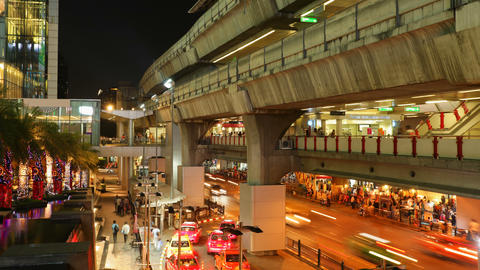 Timelapse - Aerial subway station - Siam BTS Station - Bangkok Footage