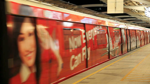 Bangkok BTS With Air Asia Advertising On It stock footage