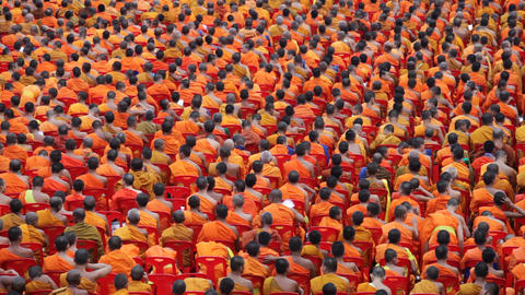 Monk Mass Alms Giving in Bangkok Footage